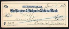 Cheque - US - Farmers & Mechanics National Bank, Georgetown, D.C., 1892
