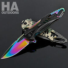 Outdoor Rainbow Titanium Blade Folding Pocket Knife Hunting Camping survival AU
