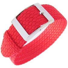 20mm Eulit PALMA Red One-Piece Woven Nylon Perlon German Made Watch Band Strap