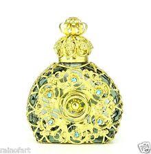 Vintage Olive Perfume Bottle Vanity Gold Tone Ring Circle Of Love Blue Crystal