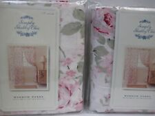 Simply Shabby Chic ROSALIE White Pink Floral Window Panel Curtain Drape - Pair