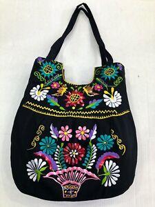 Artisan Ethnic Boho Embroidered Floral Handbag Purse Handmade in Mexico Black