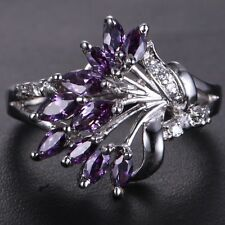 Handmade Natural 2.225ct Amethyst  Size US 7 14K White Gold Ring RKOY138XZC