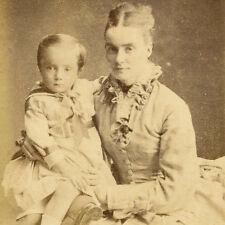 1880s LOVING MOTHER & SON CDV PHOTO CARTE DE VISITE ETON CHILDREN VICTORIAN