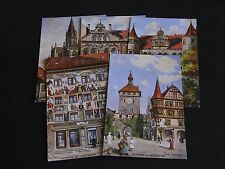 FIVE ORIGINAL PAUL THOMAS SIGNED TUCK POSTCARDS - KONSTANZ - OILETTE No. 684B.