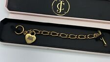 Juicy Couture Classic Gold Tone Puff Heart Charm Starter Toggle Bracelet  $50