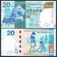 HONG KONG - HSBC  20 DOLARES 2010 Pick -  SC  UNC