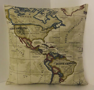 MAP CUSHION COVERS SINGLE DESIGNER WORLD ATLAS SCATTER PILLOW COVERS
