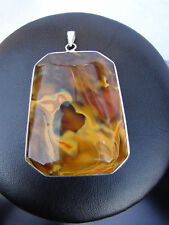 LARGE PENDANT BROWN STONE SOLID STERLING 925 SILVER NEW BOXED CHAINS AVAILABLE