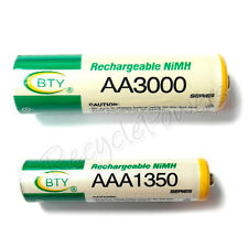 4 AA + 4 AAA 3000mAh 1350mAh rechargeable battery NiMH 2A 3A LR06 LR03 BTY Green