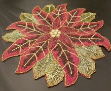 """SET of 4 GLASS BEADED POINSETTIA PLACEMATS CENTERPIECE CHARGERS 15"""" CHRISTMAS"""