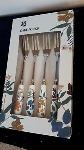Set Of 4 Cake Forks - National Trust boxed pretty New