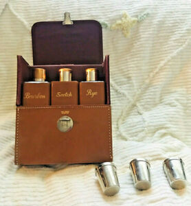 Vintage 1950s 60s Barware Gift Set Travel Bar Tan Leather Carry Case Liquor