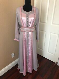Grey And Pink Moroccan Caftan Kaftan For Wedding Hijab Small Medium Size
