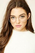 Classic Clear Lens Glasses Vintage Retro Aviator Gold Frame Eyeglasses UV 100%
