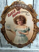 Advertising Borden's Eagle Brand Condensed Milk Dairy Sign Borden Card stock VTG