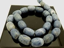 "Vintage Natural Blue Chinese Large Coral Barrel Shape Beads Std.16"" 24 Beads"