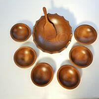 Woodcraftery 1960's Wooden Footed Scalloped Salad Bowl Set 8 piece set Made USA