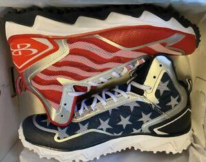 Boombah Berzerk Men's USA Flag Stars Stripes Softball Cleats Turf Shoes 11.0 New