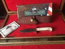 Bear & Son USA WSBB00LD 1/2 Damascus Baby Bowie Knife Leather Sheath NIB