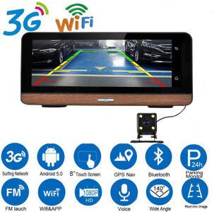 "Android 3G Wifi Vehicle Car Video Dual Camera 8"" GPS Navigation 1080P HD DashCam"
