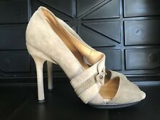 L.A.M.B Leather Heels Gray Leather Suede 7.5 M
