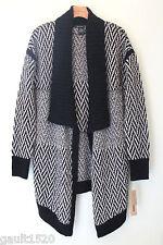 NWT DKNY Jeans Cozy Black White Striped Wool Alpaca Open Long Cardigan Sweater M
