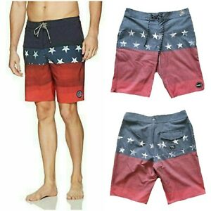 """NWT $54 O'NEILL Hyperdry 20"""" Patriotic Men's Board Shorts Red Capitol Size 28"""