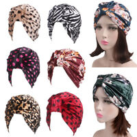 Women Muslim Stretch Turban Velvet Hat Chemo Cap Hair Loss Head Scarf Cover Caps