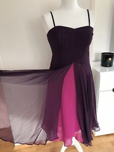 Monsoon Purple Pink Prom Dress Size 12 Silk Straps