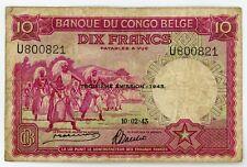 🔸BELGIAN CONGO 10 FRANCS 1943 P-14C F (Q-104)🔸