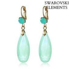 Boucle d'oreilles goutte d'eau facettes Swarovski® Elements vert tendre