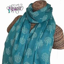 MULBERRY TREE TREES SCARF BRIGHT TURQUOISE & WHITE LADIES SUPERB SOFT QUALITY