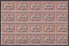 AUSTRIA 1918 OCCUPATION POSTAGE DUE Sc NJ10 BLOCK OF 20 MNH VF SCV$200.00+