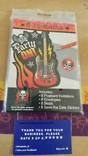 ROCK ON SKULL AND FLAMES INVITATIONS (8) ~ Birthday Party Supplies Stationery