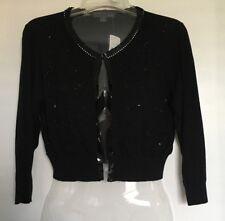 Forever Twenty One Cotton Cropped Cardigan Bolero Black Size L with Embelishment