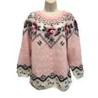 Vintage 90s Cottagecore Pink Floral Embroidered Mohair Fair Isle Sweater M