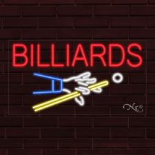 "Brand New ""Billiards"" w/Logo 37x20X1 Inch Led Flex Indoor Sign 30668"