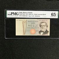 1975 Italy 1000 Lire, Pick # 101d, PMG 65 EPQ Gem Uncirculated