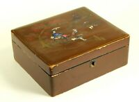 ^ Antique ea.1900's Japanese Export Lacquered Wood Box w. Mother of Pearl Inlay