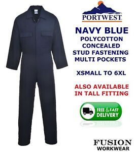 PORTWEST QUALITY COVERALL,NAVY BLUE,OVERALL,BOILER SUIT,X SMALL TO 6XL,STUD,WORK