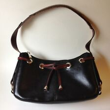 Black Red Brown Rina Rich Handbag Purse Tote Bag Silver Metal Grommets Studs