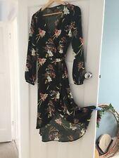 Miss Selfridge Green Floral Wrap Dress 10