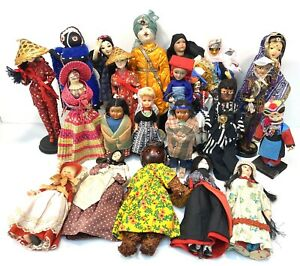 VTG Doll Lot of 22  Around The World Asia Europe, Africa, India, Native American