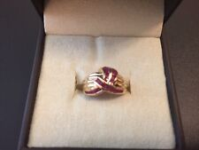 14K Gold Ribbed Dome Ring w Round Rubies; WEAR/SCRAP Sz 4.5; 4g