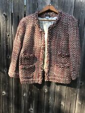 J CREW Women's Tweed Jacket  Blazer Size 6  Wool Blend Multi Colore Pink  Jacket
