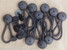 10 BLACK Bungee Shock Cord Clip Loops STAYPUT Boat Truck Tarp Canvas Covers