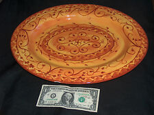 "Pier 1 One Imports Karistan 16"" Hand Paint Earthenware Serve Plate Platter Dish"