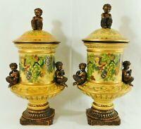 "Pair Large 18"" Ornate Gold Putti CHERUBS & FLOWERS Covered Pedestal Vase Urns"