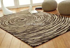 Ultimate Unique Cyclone Beige Coloured Luxury Wool & Viscose Rug various sizes